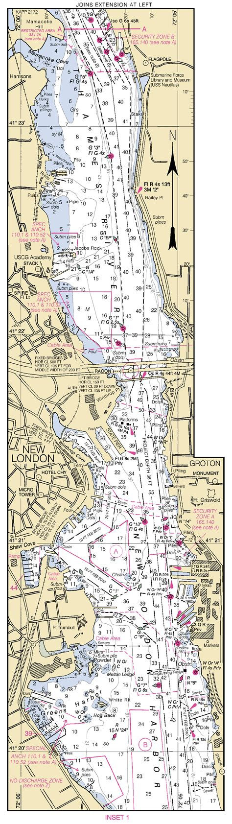 thames river navigation map thames river new london harbor inset 1 nautical chart