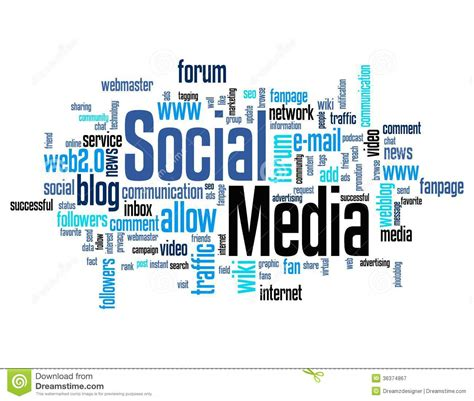 related words social media word cloud royalty free stock photography image 36374867