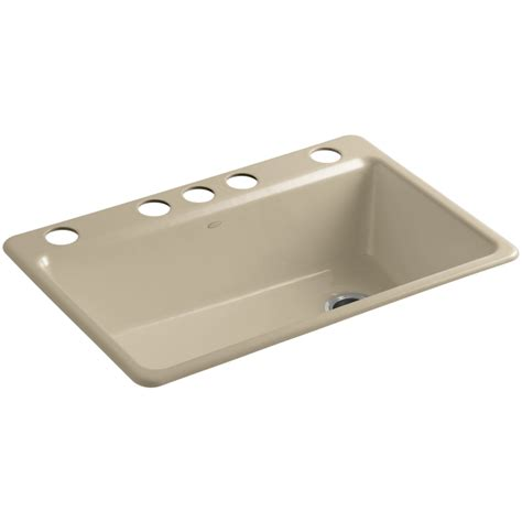 Kohler Kitchen Sinks Cast Iron Shop Kohler Riverby Single Basin Undermount Cast Iron Kitchen Sink At Lowes