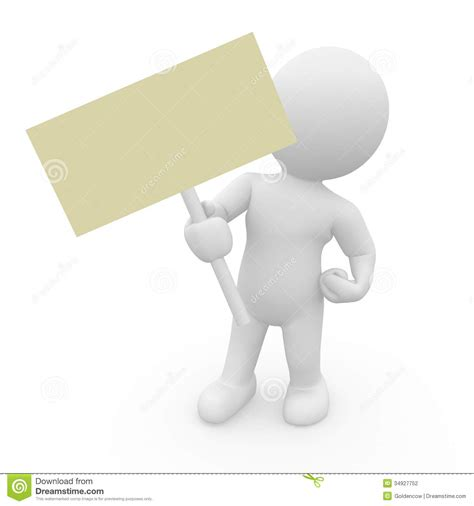 figure 3d mr smart with a empty sign stock illustration