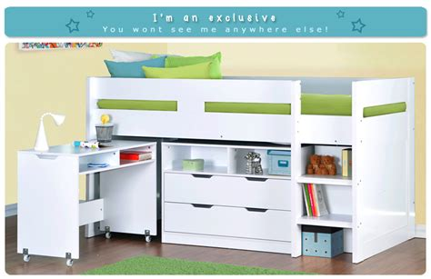White Mid Sleeper Bed With Desk by Cosmo Mid Sleeper Bed In White With Pull Out Desk