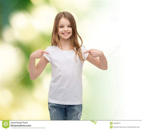 with them selves smiling in blank white t shirt stock photo