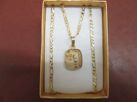 precio de cadena de oro de 10k medalla de confirmaci 243 n con cadena cartier en oro de 10k