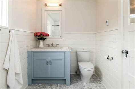 White Tongue And Groove Bathroom Furniture Blue Bathroom Vanity Transitional Bathroom Jas Design Build