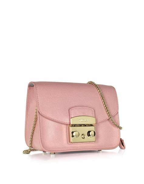 Furla Metropolis Shoulder Moonstone 2 lyst furla metropolis coral leather shoulder bag in pink
