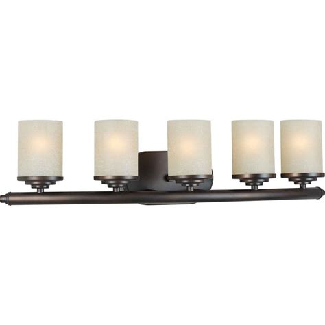 Bathroom Lighting Vanity Filament Design Burton 5 Light Wall Antique Bronze Incandescent Bath Vanity The Home Depot Canada