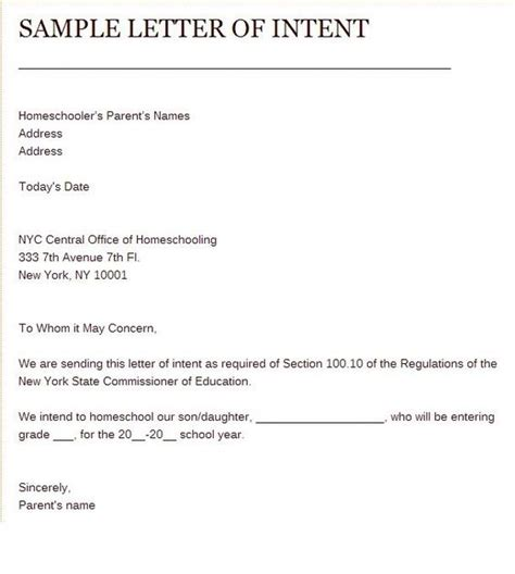 Letter Of Intent Template Air Sle Of Letter Of Intent To Homeschool Home Schooling Homeschool And Letters