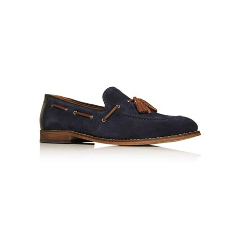 blue suede tassel loafers h by hudson tyska suede tassel loafer in blue for lyst
