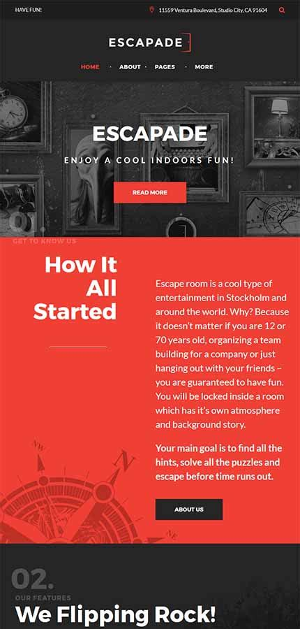 Escapade Escape Room Responsive Wordpress Website Templates Escape Room Website Template