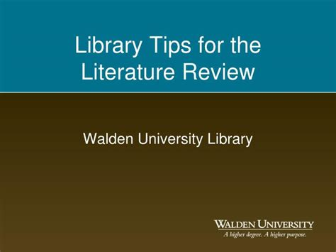 walden novel review ppt library tips for the literature review powerpoint