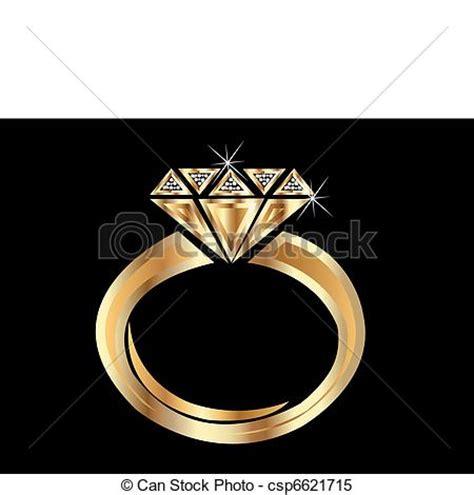 Clipart Vector of Gold Ring   Shiny golden diamond