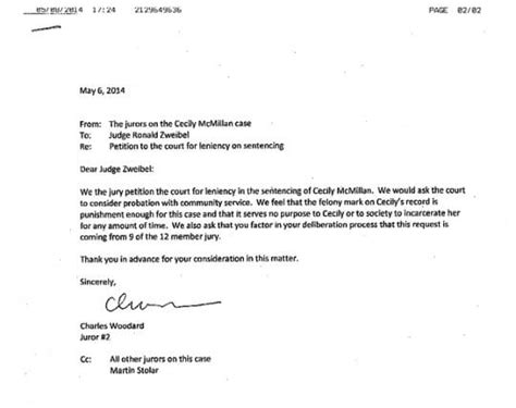 Community Service Letter For Judge What The Jury Didn T Jurors Are Now Pleading For Leniency In The Sentencing Of Cecily