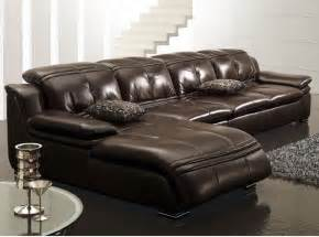 Chocolate Brown Sectional Sofas L Shape Sectional Sofa In Chocolate Brown Leather