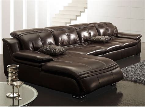 L Shape Leather Sofa L Shape Sectional Sofa In Chocolate Brown Leather
