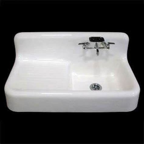 42 quot cast iron wall hung kitchen sink left side drain