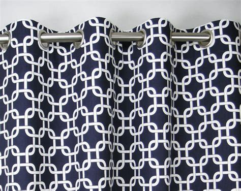 Blue And White Grommet Curtains Navy Blue White Modern Chain Link Gotcha Curtains Grommet