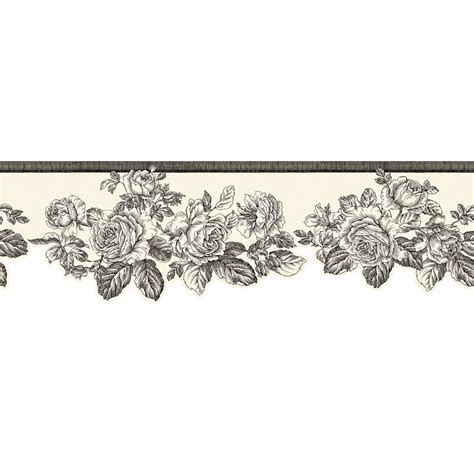 Black And White Wallpaper Border | shop allen roth 5 3 4 quot black and white rose prepasted