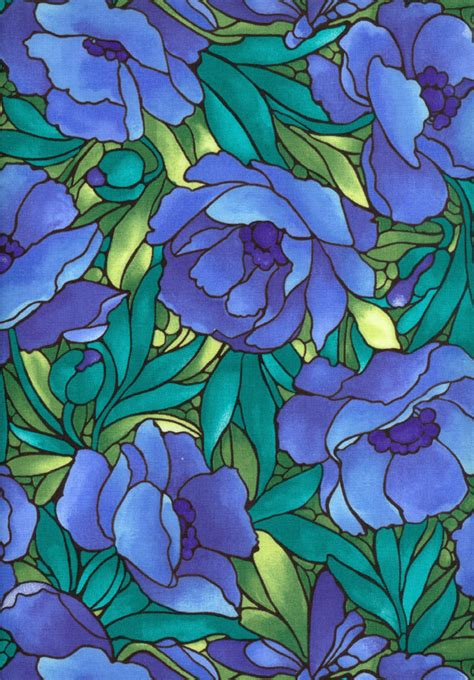 flower design in glass stained glass flowers big blue green fabric 1 yard