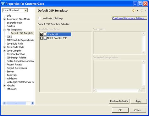 Jsp Template default jsp template project properties dialog