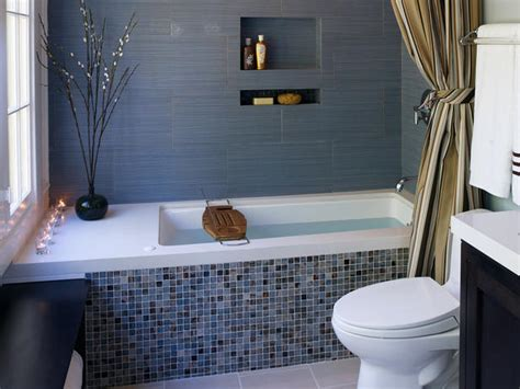 Blue Tub Bathroom by Gray Bathroom With Mosaic Tile Bathtub Wall