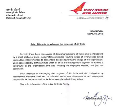 alert air india publishes letter  pilots attempting