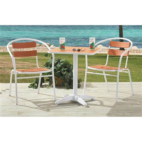 Summer Winds Patio Furniture Summer Winds Cafe Set Orange 139019 Patio Furniture At Sportsman S Guide