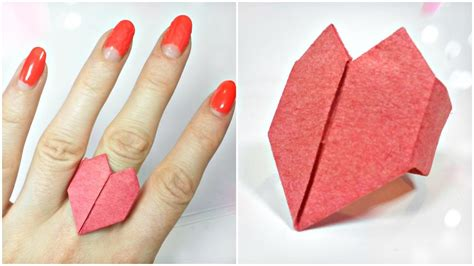 valentine origami tutorial lovers ring 3d origami valentine love heart ring paper easy tutorial