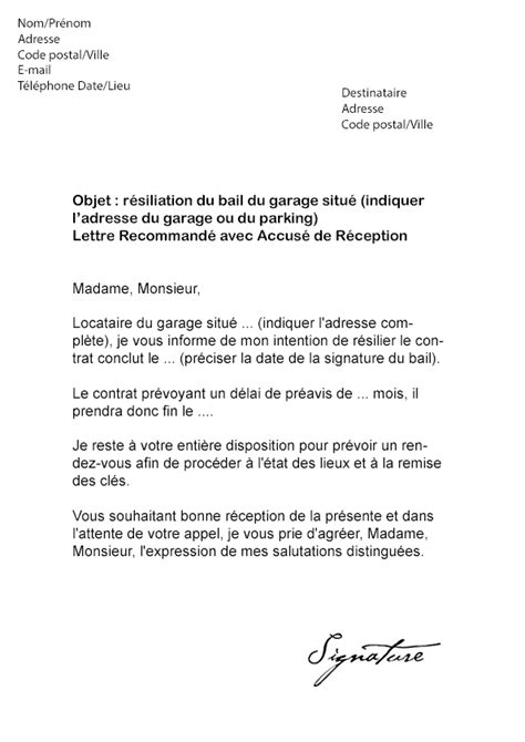 Lettre De R Siliation Mobile Cause Chomage modele resiliation bail logement etudiant document