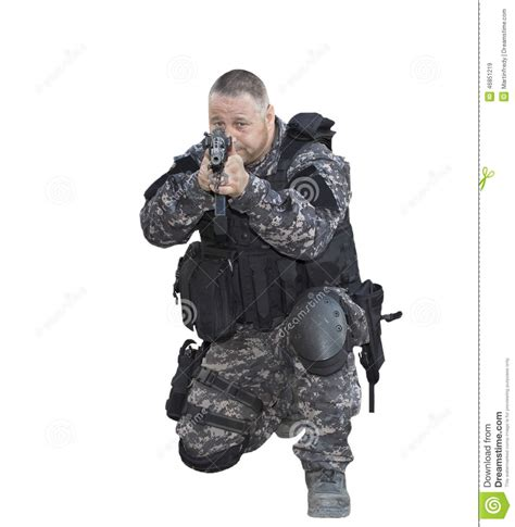 Swat White fight against terrorism special forces soldier with assault rifle swat stock photo