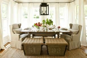 southern living dining rooms french burlap ottomans cottage dining room southern
