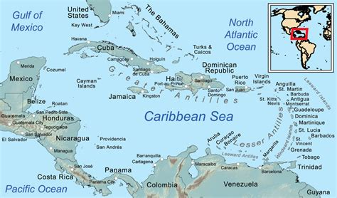 map of caribbean islands caribbean sea