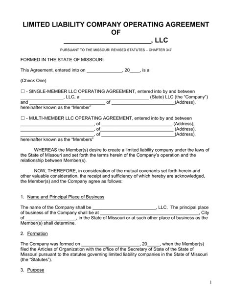 company operating agreement template free missouri llc operating agreement forms pdf word