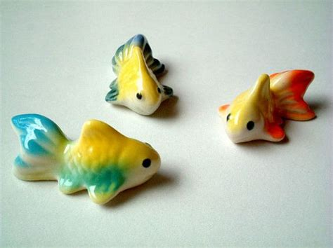 Mini Miniature 186 Yellow miniature goldfish figurine yellow orange goldfish figure