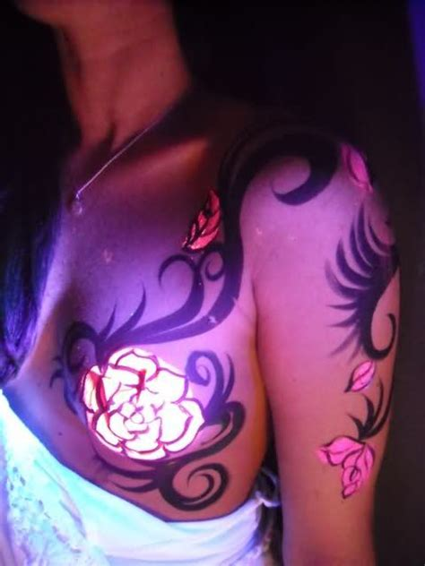 tattoo ink keeps coming out blacklight tattoo on chest