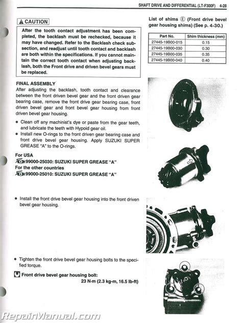 Suzuki King Manual 1999 2004 Suzuki Lt F300 Lt F300f King Atv