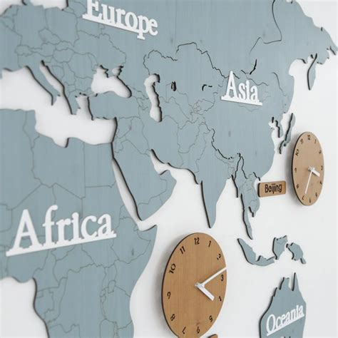 wooden world map wall wooden world map wall decoration clock 5 country time