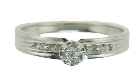 genuine engagement ring promise ring 10kt white