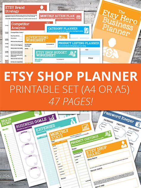 printable planner pages etsy uk version etsy shop planner organizer and worksheets
