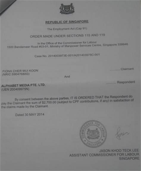 Employment Letter Address To Ica Singapore Singapore Publisher Sued By Former Sales Exec Unpaid Salary Mumbrella Asia