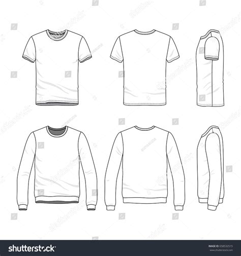 vector clothing templates blank tshirt sweatshirt stock