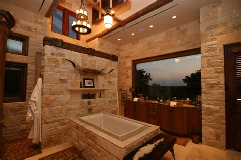 Western Bathroom Flat Rock Creek Ranch Rustic Bathroom Dallas By