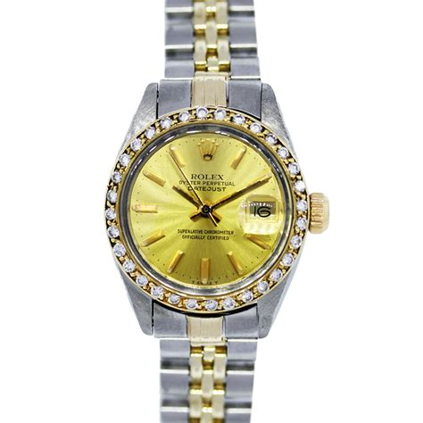 Two Tone Engagement Rings by Rolex Datejust 6917 Two Tone Diamond Bezel Ladies Watch