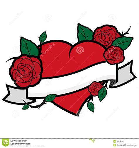 cartoon rose tattoo roses and banner stock vector image 50434611