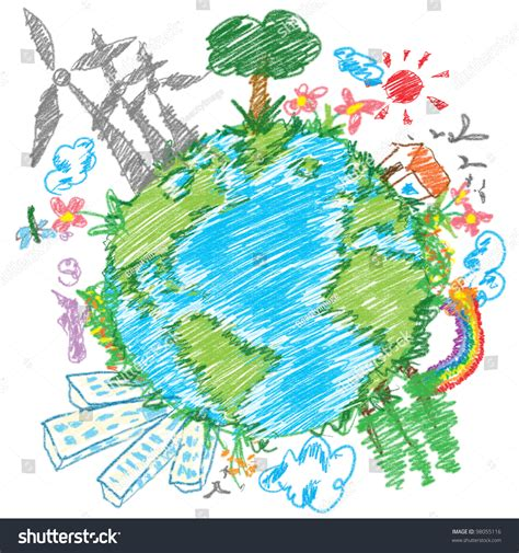 doodle world doodle world drawing stock photo 98055116