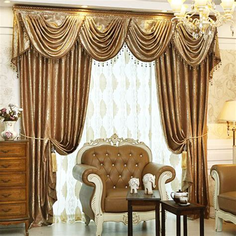 luxury curtains valances luxury light coffee brief european style modern curtains