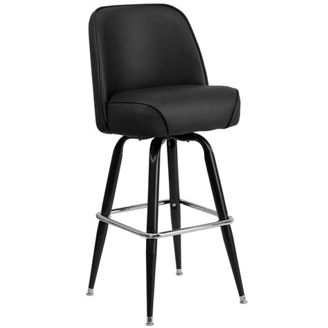 Padded Metal Bar Stools by Metal Barstool With 18 1 4 Quot Wide Black Padded Vinyl Swivel