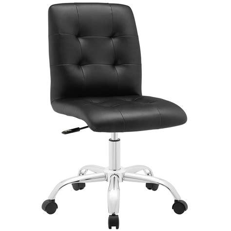 armless black leather office chair prim modern faux leather armless mid back office chair black