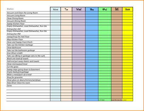 sle chart templates 187 chore chart template for kids