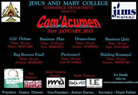 themes for college annual fest com acumen 13 annual commerce fest of jmc university