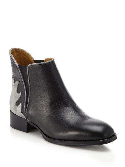 see by boots see by chlo 233 skyla leather metallic suede ankle boots in